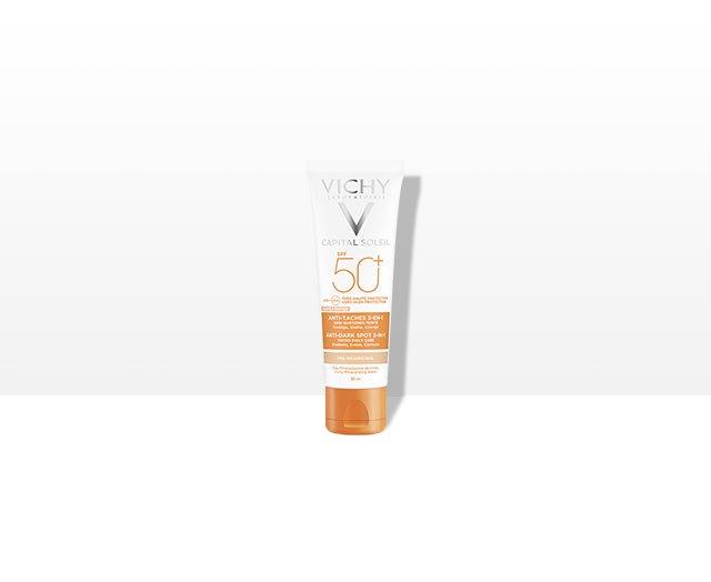 Слънцезащитен тониран крем, предпазващ от появата на пигментни петна 3 в 1 SPF 50